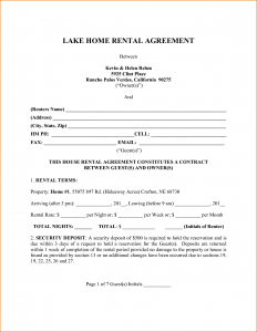 page rental agreement house rental agreement