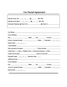 page rental agreement sample form for car rental and lease l