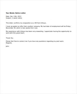 week notice letter template professional two weeks notice letter example