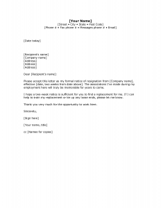 week notice letter template two weeks notice letter