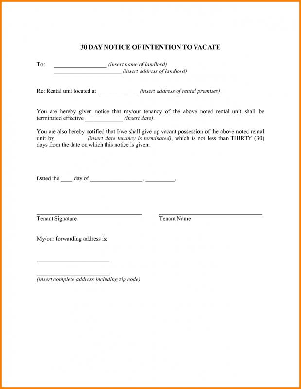30 day notice to vacate template