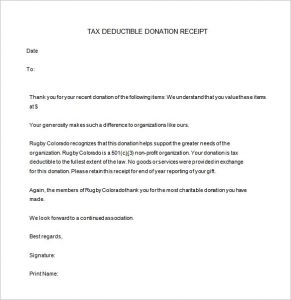 c donation receipt tax deductible donation receipt ms word free download