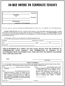 day notice to terminate tenancy letter day eviction notice