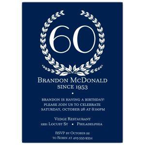 th birthday invitation age in wreath blue th birthday invitations p b z