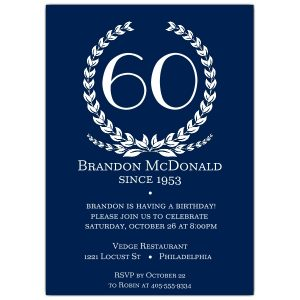 th birthday invites age in wreath blue th birthday invitations p b z