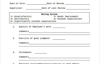 day probationary period template sample employee evaluation form
