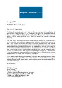 academic recommendation letter academic reference letter kingston university