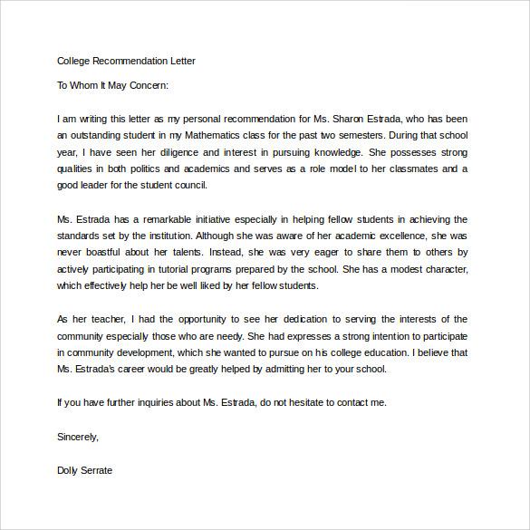 academic recommendation letter