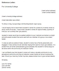 academic recommendation letter reference letter for student