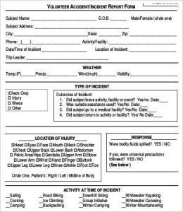 accident report form patient accident report form