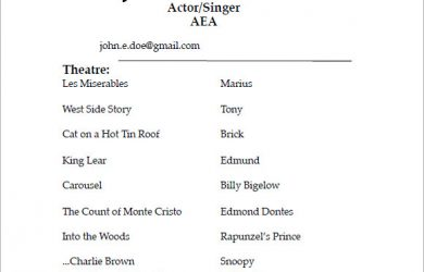 acting resume examples acting resume sample pdf