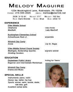 acting resume examples kids acting resume template by melody maguire