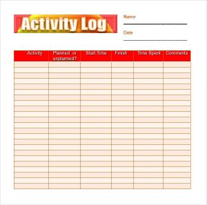 activity log template colorful activity log
