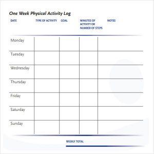 activity log template week physical activity log template