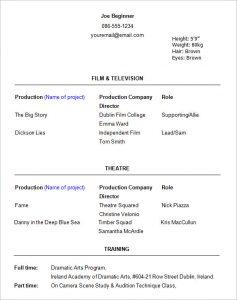 actors resume template beginner acting resume template