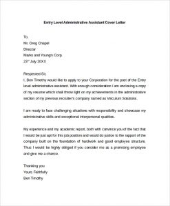 administrative assistant cover letter administrative assistant cover letter example