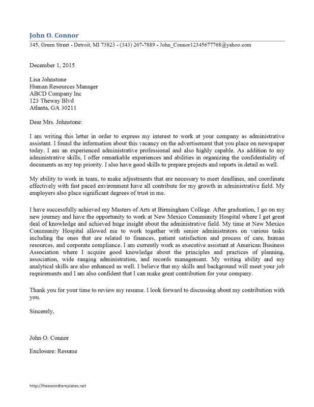 Administrative Assistant Cover Letter | Template Business