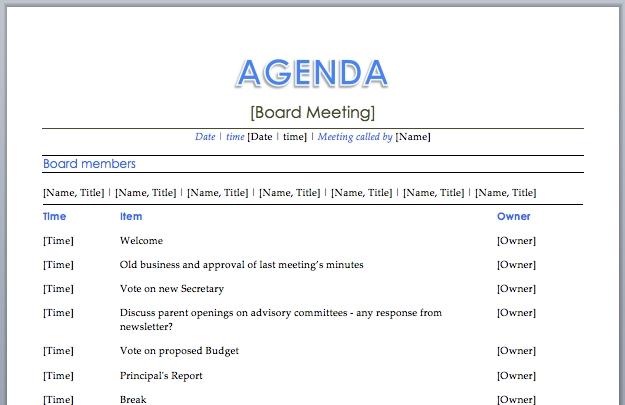 agenda template word