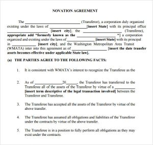 agreement letter sample novation agreement contract