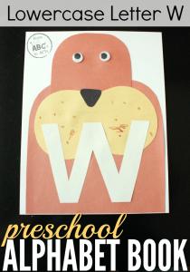 animal alphabet letters lowercase letter w alphabet book craft for preschoolers