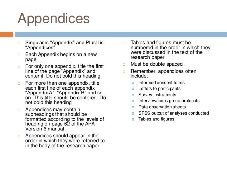 apa appendix format