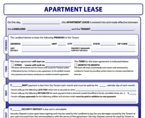 apartment lease agreement baecedd example form x