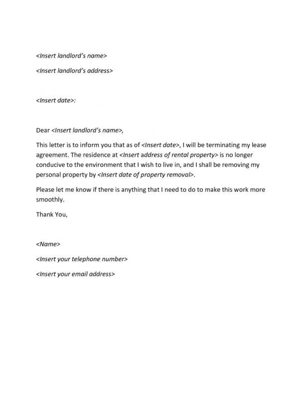 apartment lease termination letter