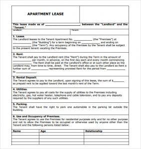 apartment rental agreement apartment rental agreement pdf