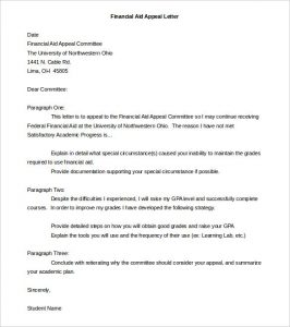 appeal letter format financial aid appeal letter template word doc