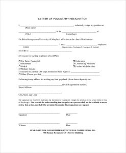 applicant form template voluntary resignation letter