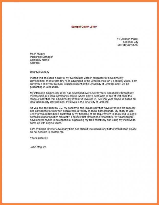 applicant letter example