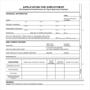 application for employment form application for employment form