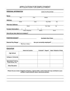 application for employment form application for employment sample form