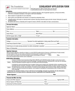 application for scholarship sample college scholarship application form
