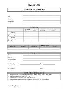 application form template leave application form model