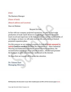 application letter examples sample loan application letter