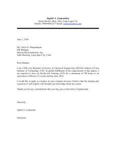 application letter format ojt application letter