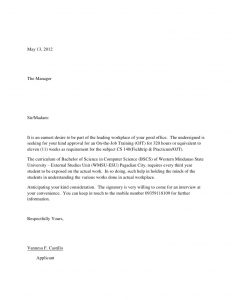 application letter format sample application letter for ojts
