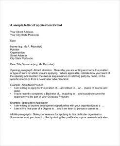 application letter format student job application letter format