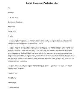 application letter template sample employment application letter