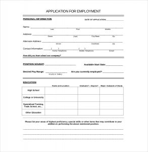applications for employment templates employement application template download