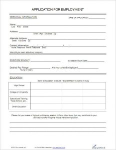 applications for employment templates free employee application template