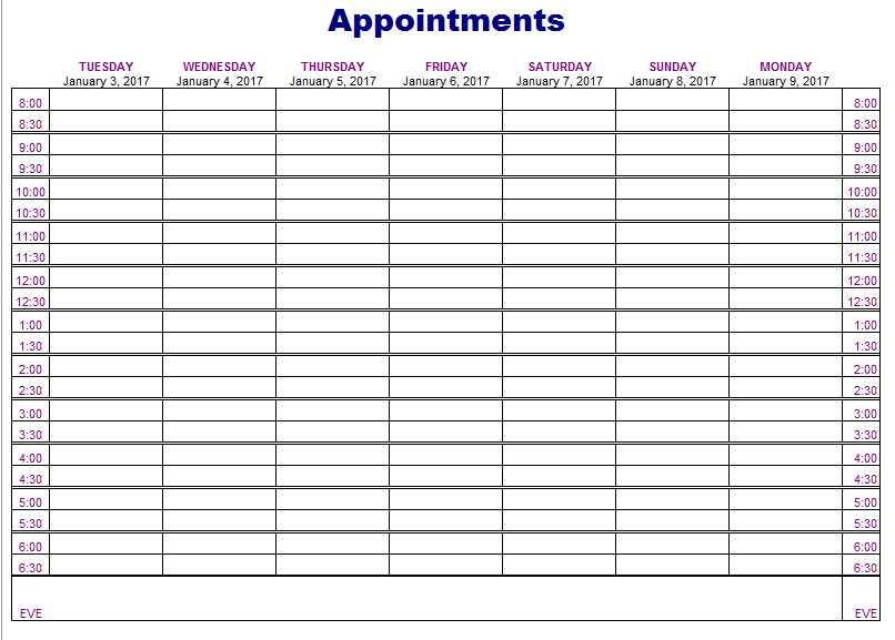 appointment schedules templates