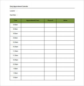 appointment schedules templates daily appointment calendar schedule template word doc