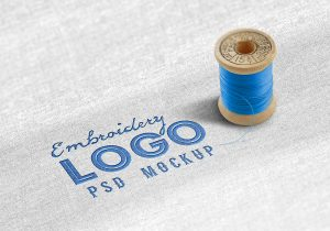 apps design templates fabric embroidered logo mockup psd