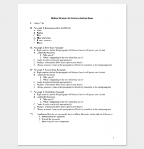 argumentative essay outline template literacy essay analysis outline example