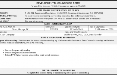 army initial counseling examples army counseling examples