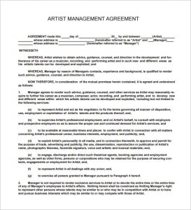 artist contract template music artist management contract pdf download