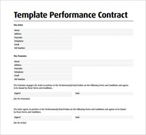 artist contract template template performance contract
