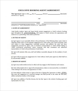 artist management contract booking agent contract template pdf